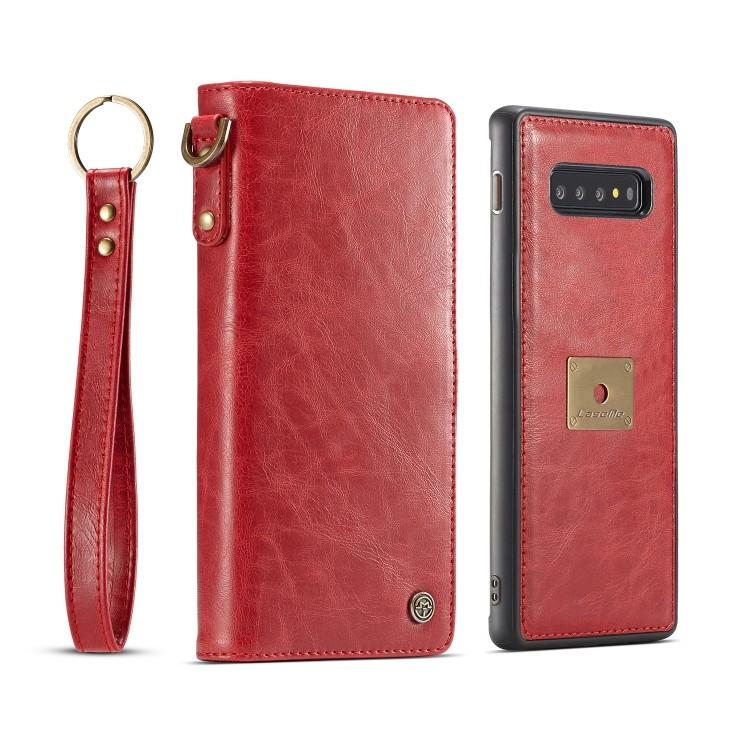 Кожаный чехол-книжка CaseMe Qin Series Wrist Strap Wallet Style со встроенным магнитом на Samsung Galaxy S10- красный
