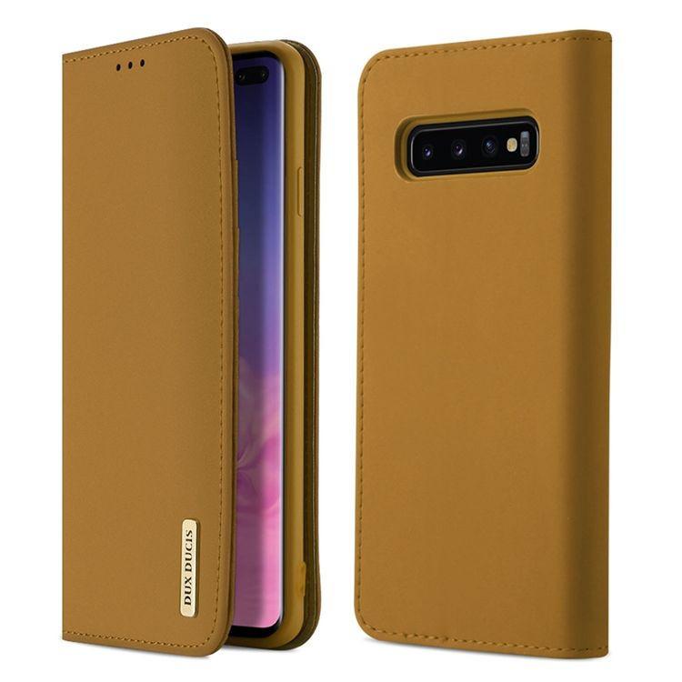 Кожаный чехол- книжка DUX DUCIS Wish Series на Samsung Galaxy S10+ / S10 Plus-хаки
