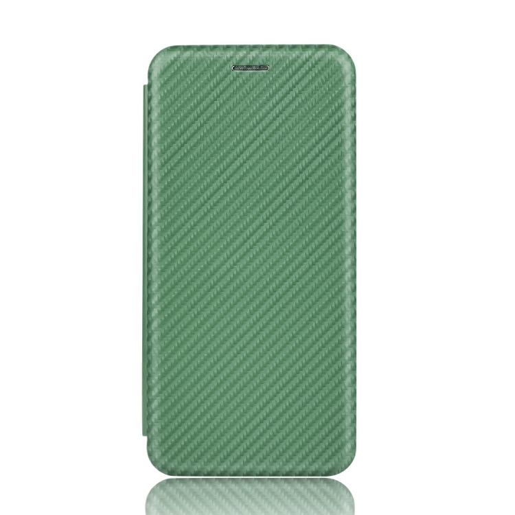 Чехол-книжка Carbon Fiber Texture на Realme C11 - зеленый