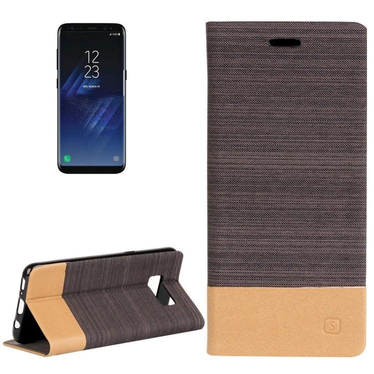 Чехол-книжка Canvas Pattern Black на Samsung Galaxy S8-коричневый