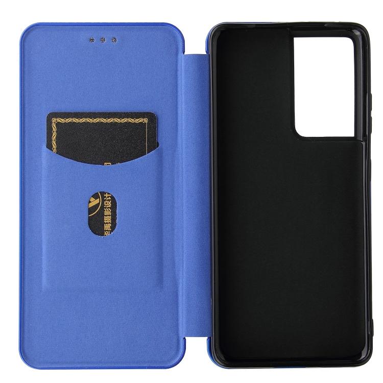 Карбоновый чехол-книжка синего цвета на Самсунг Галакси  С21 Ультра