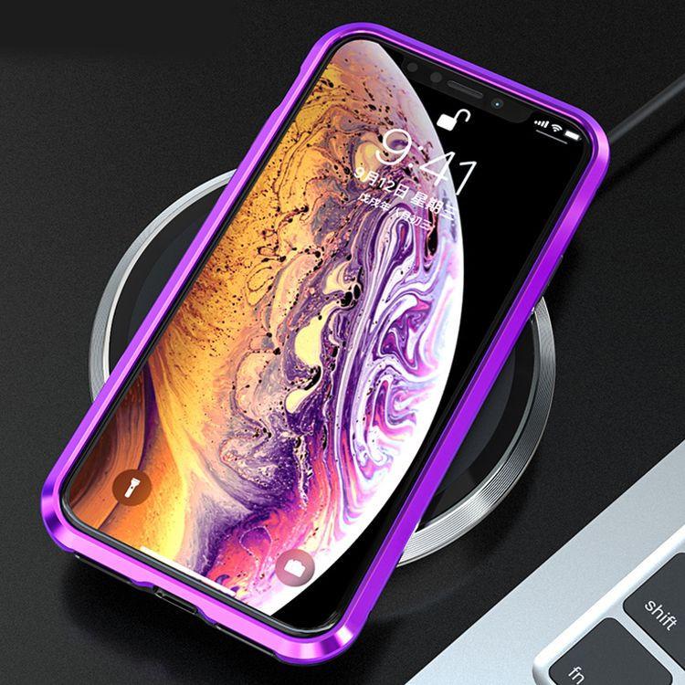 Магнитный Стеклянный чехол для Айфон X/Xs из двух элементов  черного цвета