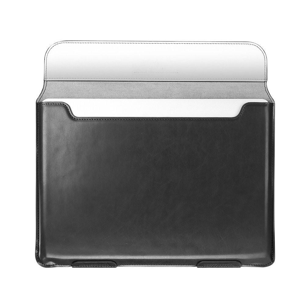 Кожанный чехол-конверт на МакБук 13 - черный