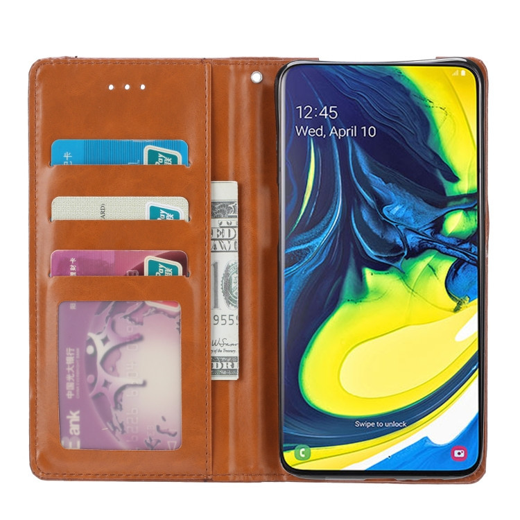Чехол-книжка Knead Skin Texture на Самсунг A80- коричневый