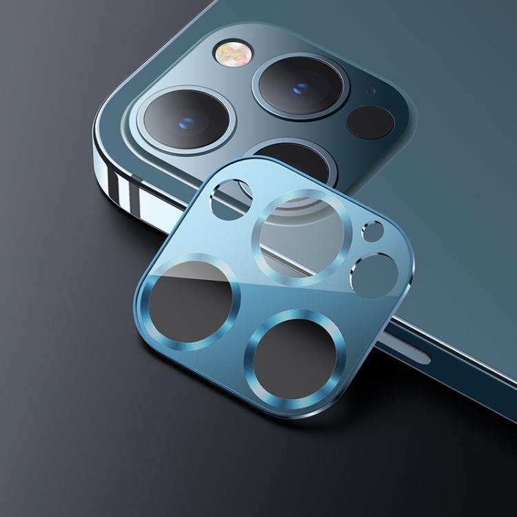 Защитное стекло на камеру USAMS US-BH707 для Айфон 12 Про Макс - синее