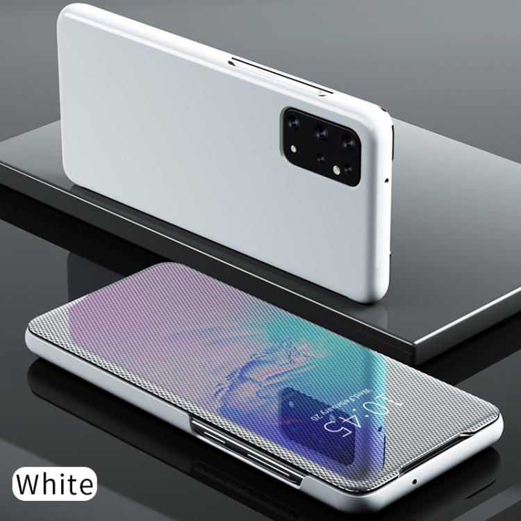 Зеркальный чехол-книжка на Samsung Galaxy S20 белый