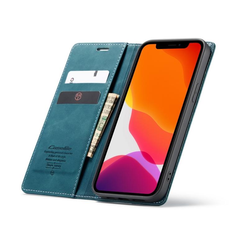 Чехол синего цвета с слотами под кредитки на Айфон 12 Про Макс