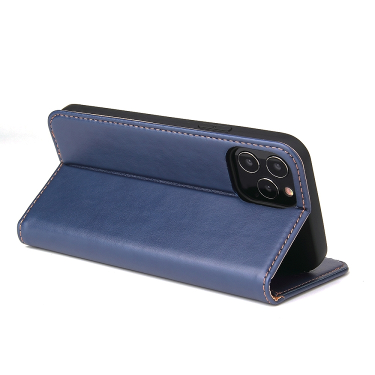 Синий кожаный чехол-книжка с складной подставкой на Айфон 12