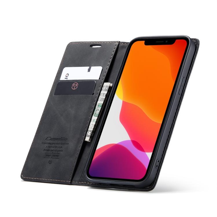 Кожаный черный чехол с слотами под визитные карты для iPhone 12 Pro Max