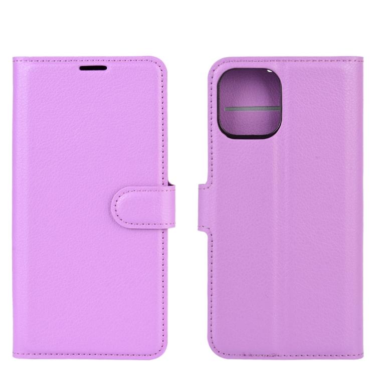 Кожаный фиолетовый чехол-книжка для Айфон 12