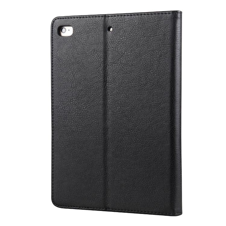 Защитный кожаный чехол-книжка черного цвета с слотом под стилус на Айпад Мини 4