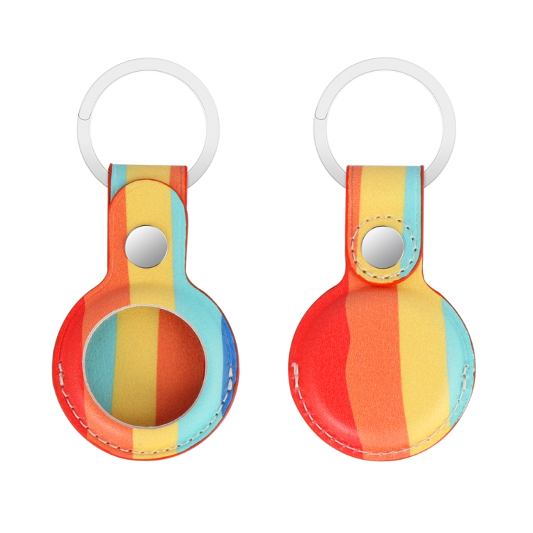 Кожаный брелок Rainbow с кольцом для ЭйрТег - разноцветный