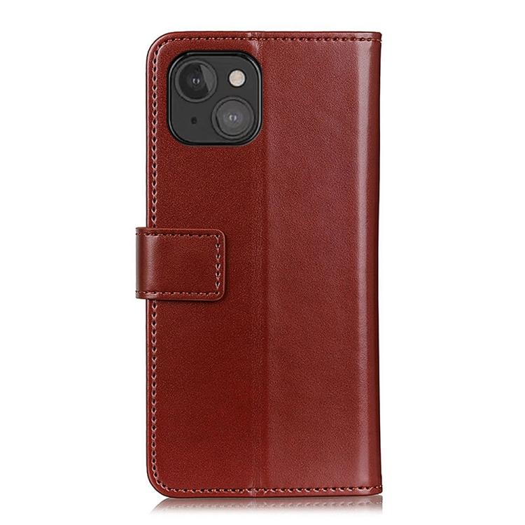 Ударостойкий чехол-книжка коричневого цвета на Айфон 13 Мини
