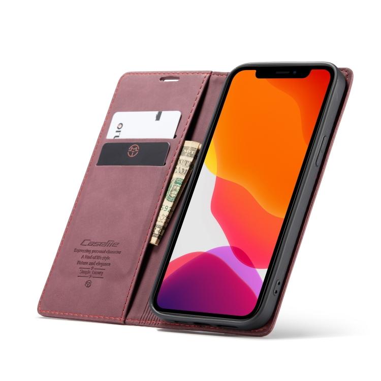 Чехол-книжка с слотами под кредитки для Айфон 12 Про Макс винно-красного цвета