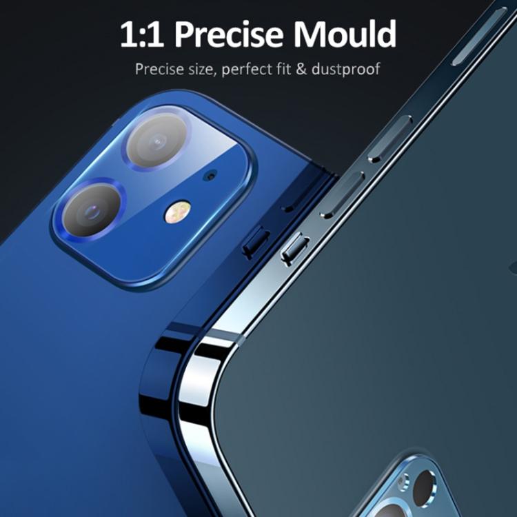 Ударостойкое защитное стекло на камеру черного цвета на Айфон 12 Про