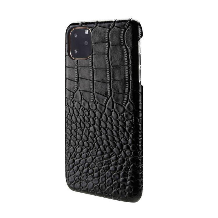 Кожаный чехол ИсКейс Крокодайл Скин-лайк на Айфон 11- черный