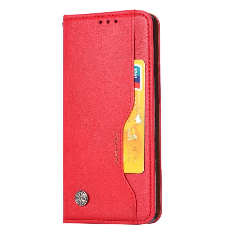 Кожаный чехол-книжка красного цвета для Сяоми Редми Нот 9 Про