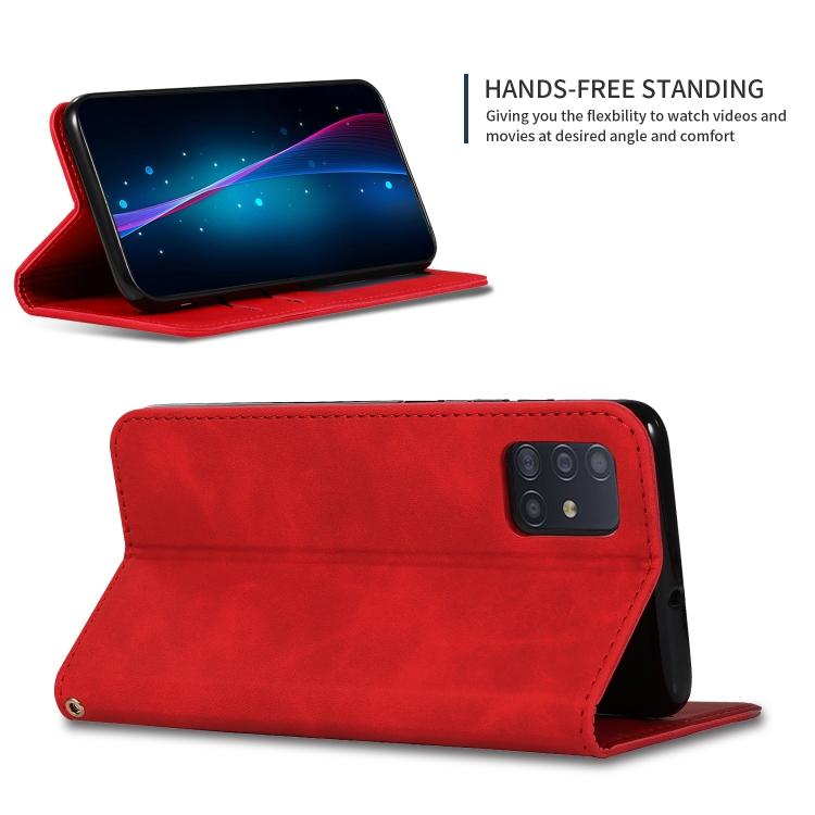 Кожаный чехол-книжка для Самсунг Гелекси А71 красного цвета