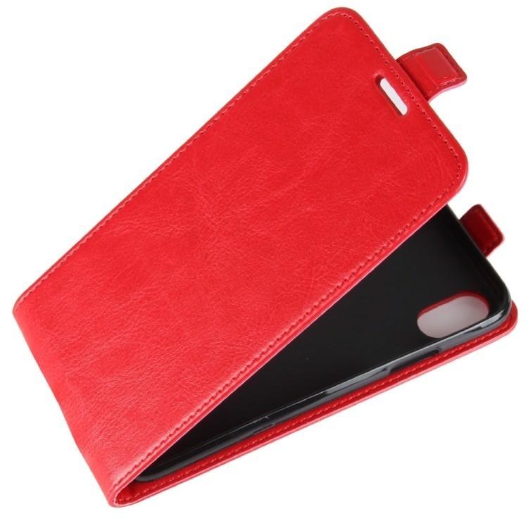 Кожаный флип чехол на iPhone X/Xs Crazy Horse Texture красный