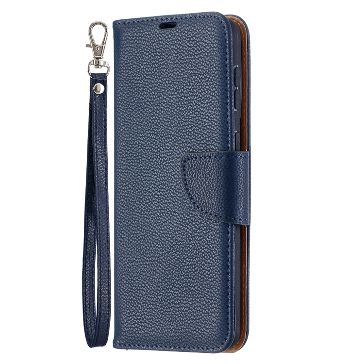 Чехол-книжка Litchi синего цвета на Samsung Galaxy S21 Plus
