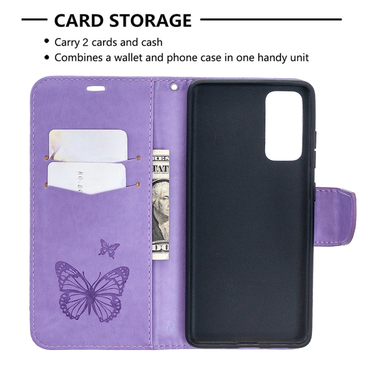 Чехол-книжка Butterflies Pattern на Samsung Galaxy S20 FE - фиолетовый