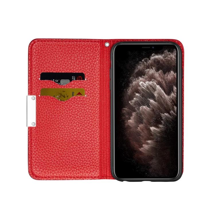 Красный чехол-книжка с отсеками для карт на Айфон 12 Про Макс