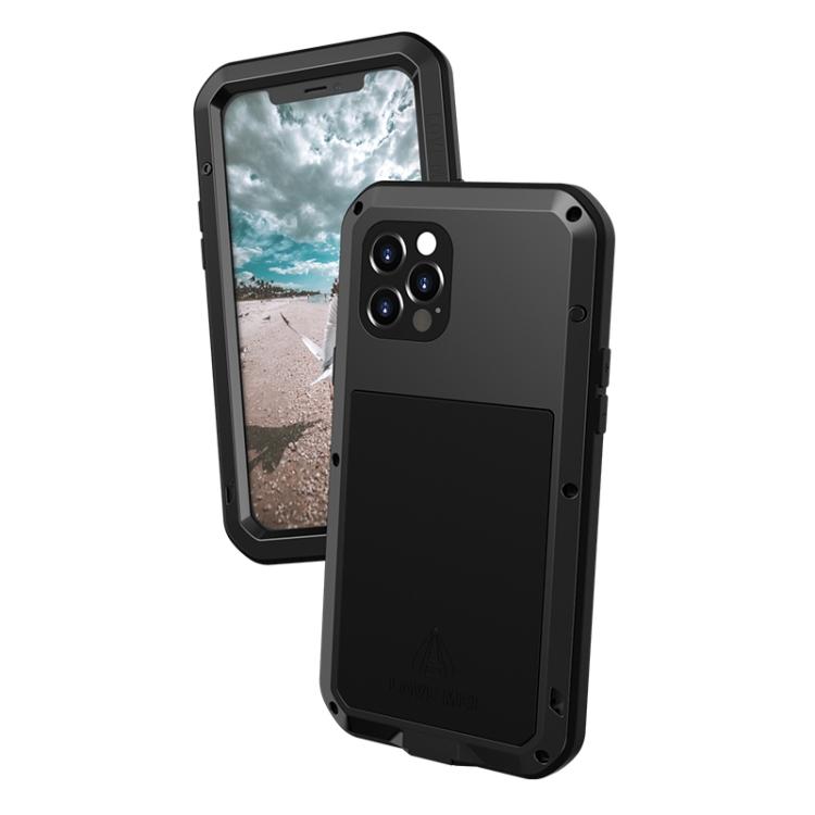 Влагозащитный противоударный чехол LOVE MEI Metal для iPhone 12 Pro - черный