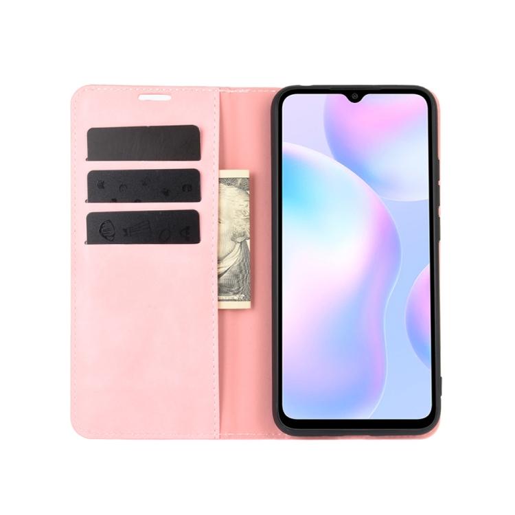 Ударостойкий чехол с слотом под кредитки на Сяоми Редми 9А розовый