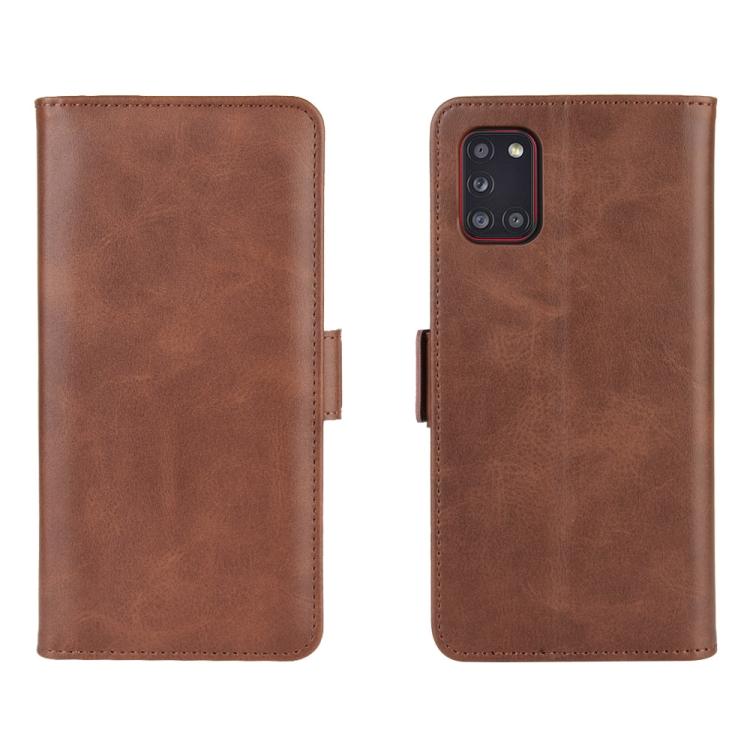 Чехол-книжка Dual-side Magnetic Buckle для Samsung Galaxy A31 - коричневый