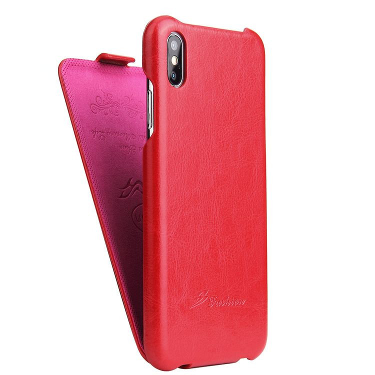 Кожаный флип-чехол Fierre Shann Retro Oil Wax Texture на iPhone Xs Max 6.5-красный