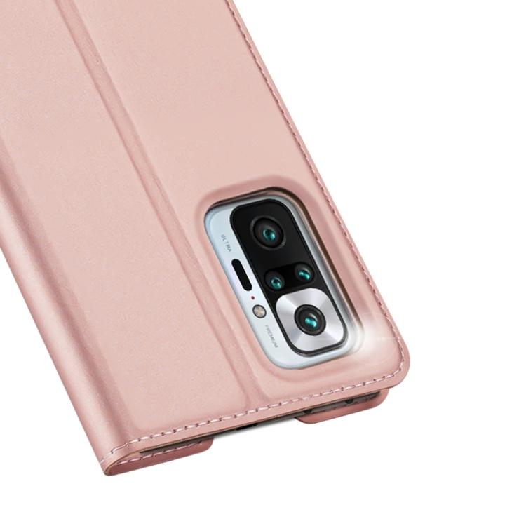 Ударостойкий кожаный чехол-книжка розового цвета для Сяоми Редми Нот 10  Про