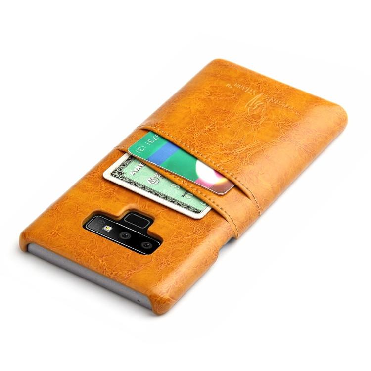 Желтый чехол из кожи на Самсунг Галакси  Note9  с удобным  слотом для визиток и кредитных карт