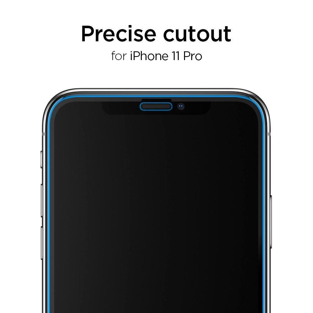 Каленое 3d защитное стекло Spigen Alm Glas Fc для IPhone 11 Pro/X/Xs-черное