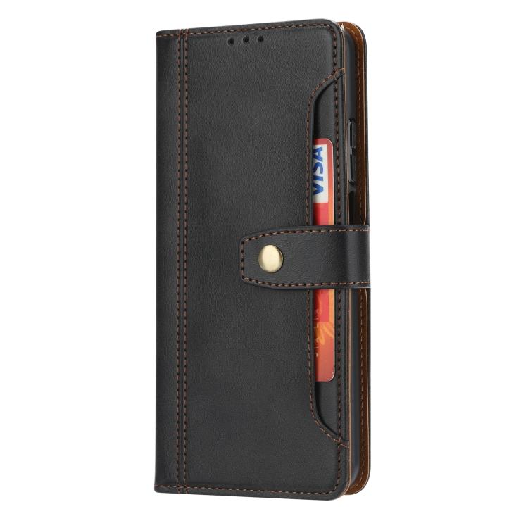 Ударостойкий чехол-книжка кожаный черного цвета на Сяоми Ми 10Т