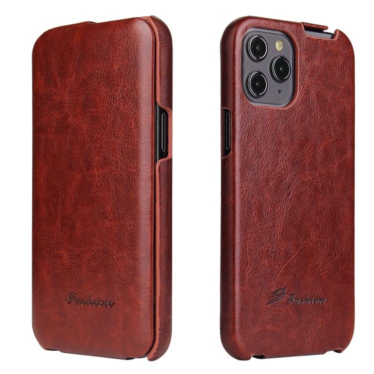 Кожаный флип-чехол коричневого цвета для Айфон 12