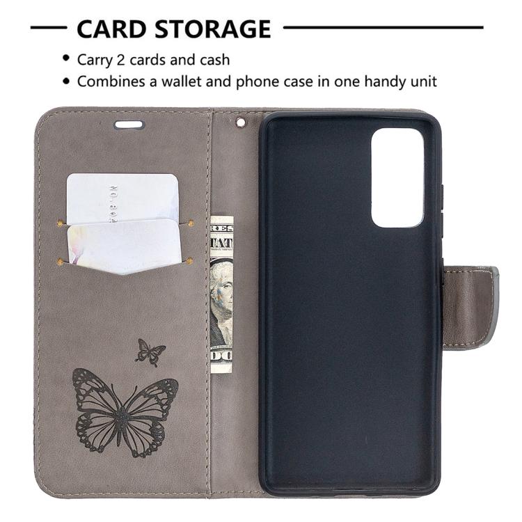 Чехол кожаный с бабочками и слотами под кредитки для Самсунг Гелекси С20 ФЕ