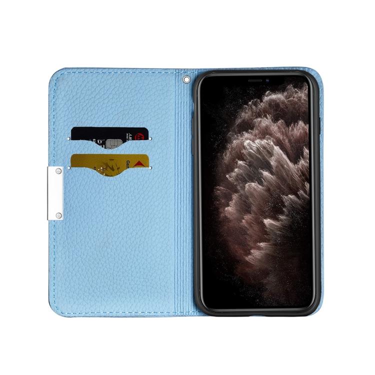 Синий чехол-книжка со слотами для карт  на Айфон 12 Про Макс