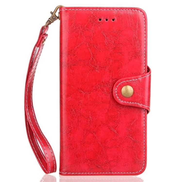 Кожаный чехол-книжка красного цвета для Самсунг Гелекси С9 Плюс
