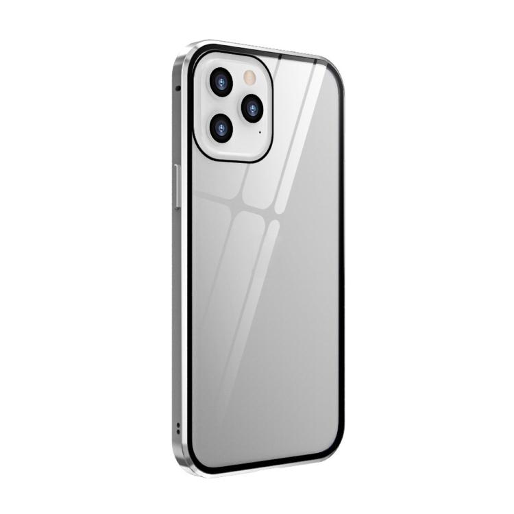 Двухсторонний магнитный чехол Adsorption Metal Frame для iPhone 12 / 12 Pro - серебристый
