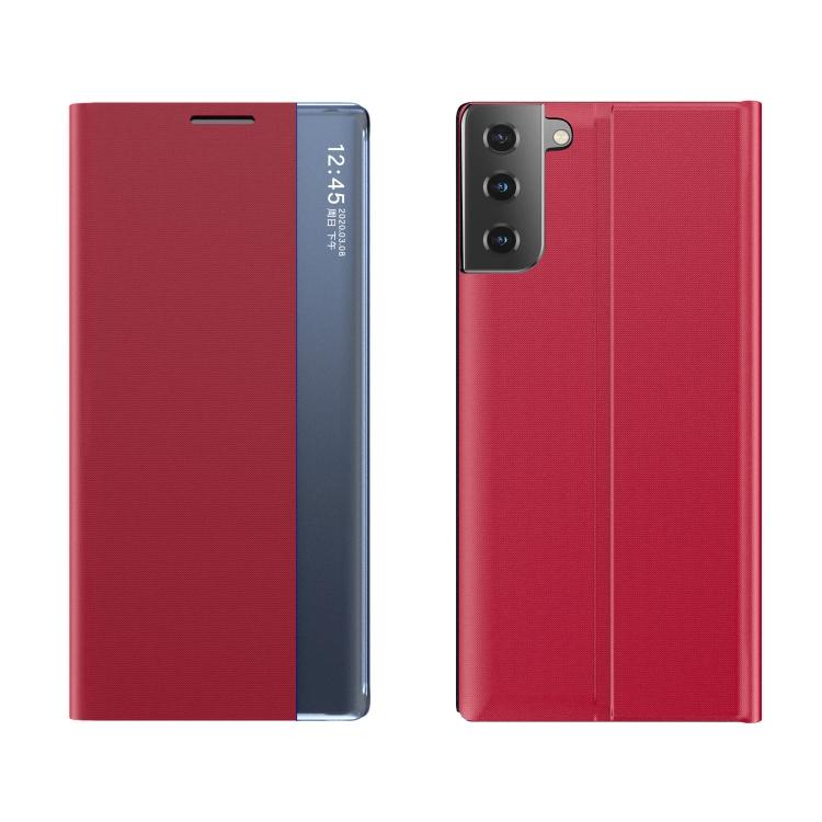 Чехол-книжка Clear View Standing Cover на Samsung Galaxy S21 FE - красный