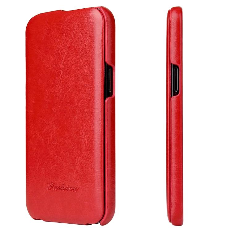 Красный кожаный флип-чехол для Айфон 12