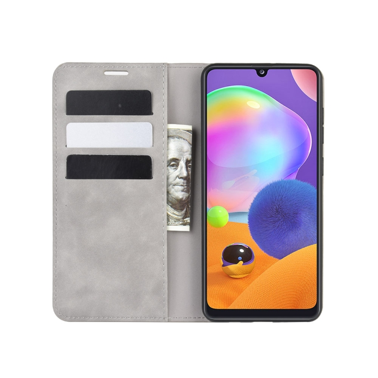 Чехол- книжка Retro Skin Feel Business Magnetic на Галакси A31 - серый
