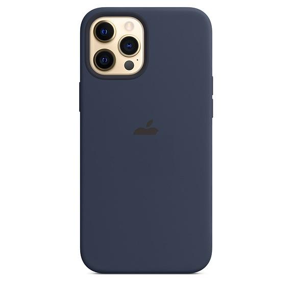 Синий чехол накладка силиконовый для Айфон 12 Про Макс