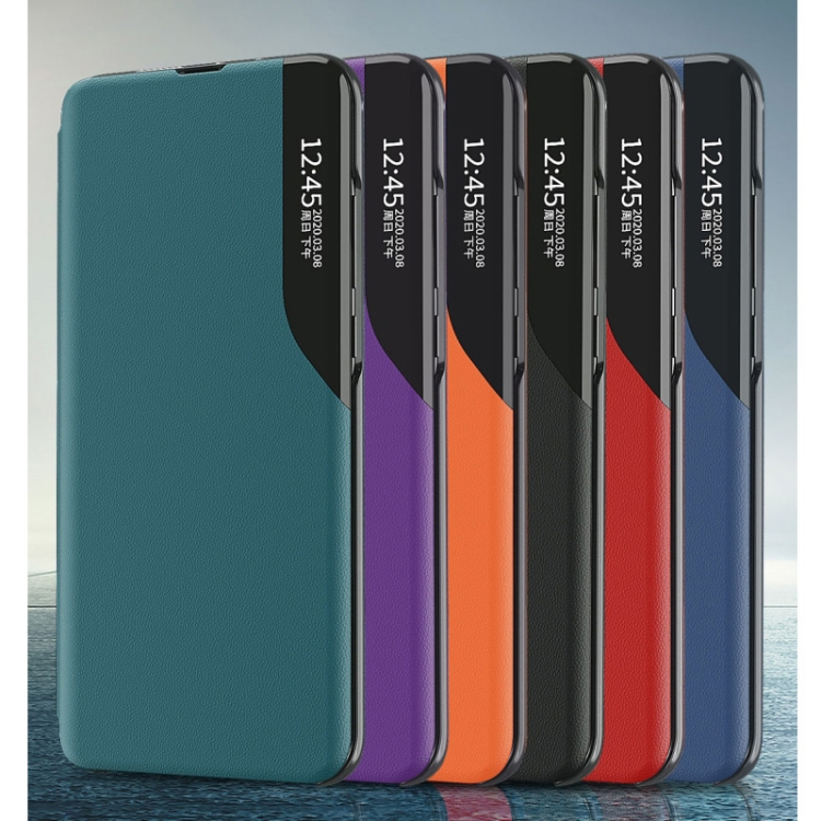 Чехол-книжка Clear View Standing Cover на Самсунг Галакси S21 FE - оранжевый