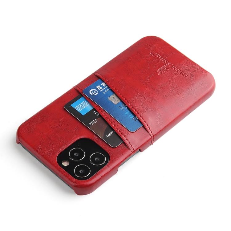 Кожаный чехол Fierre Shann Retro Oil Wax на Айфон 12/12 Pro - красный