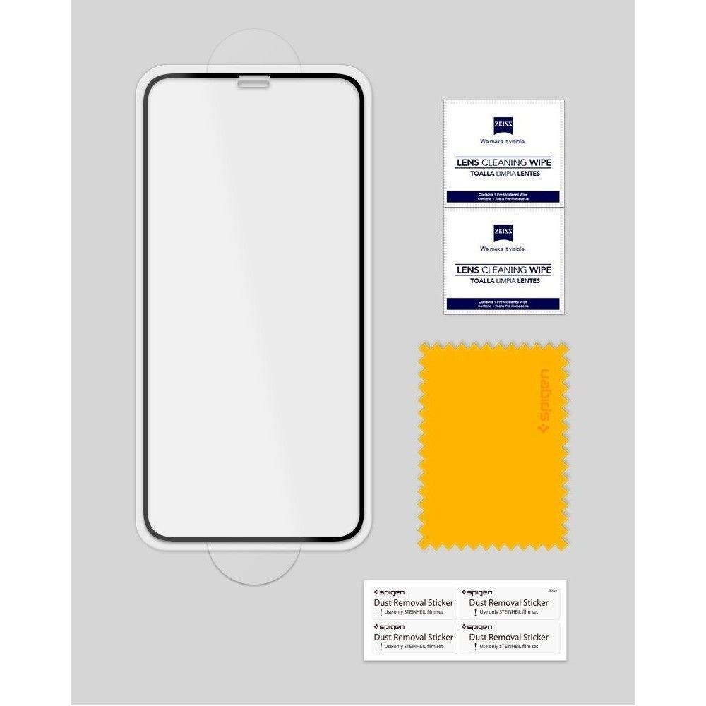 3D каленое защитное стекло Спиген Гласс Фк для Айфон 11 Pro/X/Xs Black