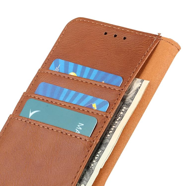 Коричневый кожаный чехол-книжка для Айфон 12 Про Макс