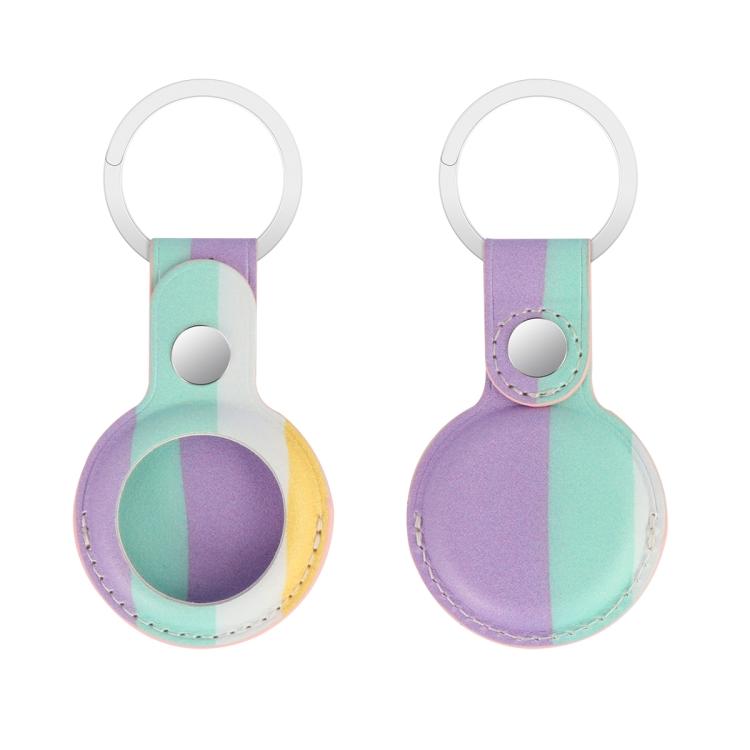 Кожаный брелок Rainbow с кольцом для AirTag - светло-фиолетовый