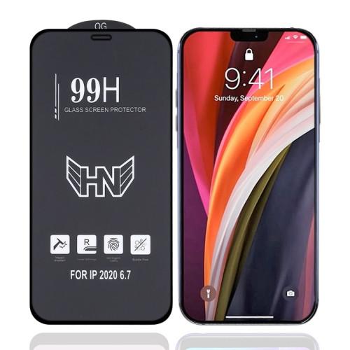 Защитное стекло High Aluminum Large Arc Full Screen на iPhone 12 Pro Max - черное