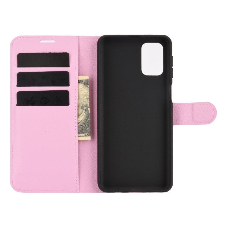 Чехол-книжка Litchi Texture на Samsung Galaxy M31s - розовый